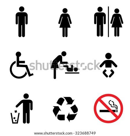 people icon set  toilet