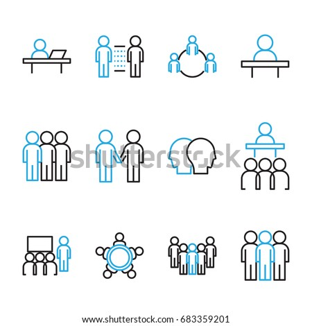 People Icon Vector set, Flat designed Thin line Vector Illustration