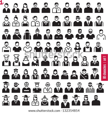 People icons. 80 characters set 1. Occupations. Professions. Human resources.