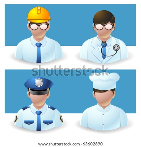 people icons - doctor, policeman, chef and engineer