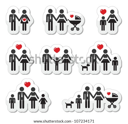 People icons - family, baby, pregnant woman, couples