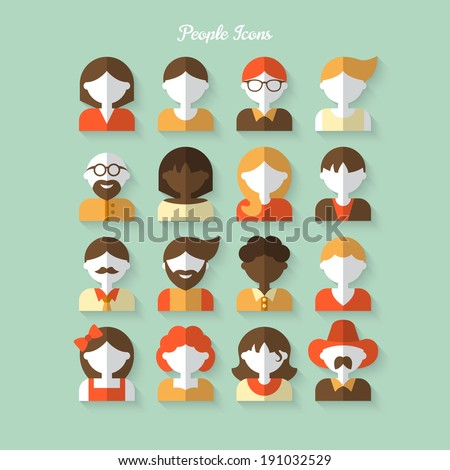 People icons in flat modern style. Vector illustration