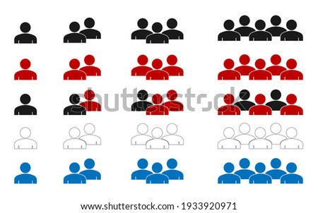 People icons in modern flat and lines design. People black,red,blue vector icons, isolated. Persons for web design, app and ui. Group of people Vector in EPS10