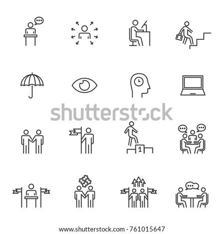 People Icons Line Work Group Team Business Vector