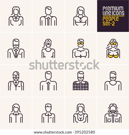 People icons, people line icons set, isolated stroke people icons collection