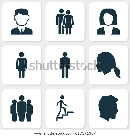 People Icons Set. Collection Of Gentlewoman Head, Gentleman, Male And Other Elements. Also Includes Symbols Such As Work, Female, Woman.