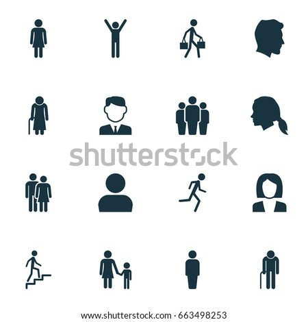 People Icons Set. Collection Of Male, Group, Member And Other Elements. Also Includes Symbols Such As Unity, Family, Child.