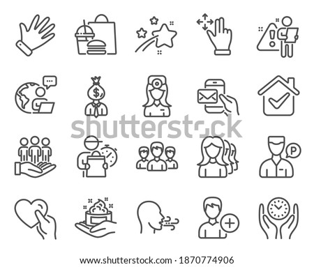 People icons set. Included icon as Oculist doctor, Best buyers, Valet servant signs. Group, Safe time, Manager symbols. Hand, Skin care, Messenger mail. Move gesture, Women headhunting. Vector