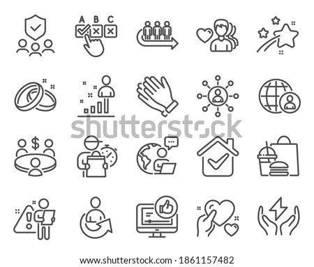 People icons set. Included icon as Stats, Safe energy, Hold heart signs. Networking, Security agency, Wedding rings symbols. Queue, Meeting, Clapping hands. International recruitment. Vector