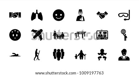 People icons. set of 18 editable filled people icons: smiling emot, sweating emot, family, newborn child, old woman and child, group, horizontal bar, lungs, hang glider
