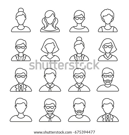 People icons: thin monochrome icon set, black and white kit