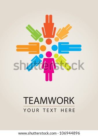 People icons with colors, conceptual teamwork, vector illustration