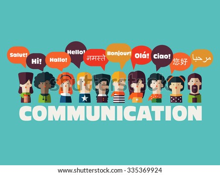 People icons with Speech Bubbles in different languages. Communication and People Connection Concept. Flat Design. Vector Illustration