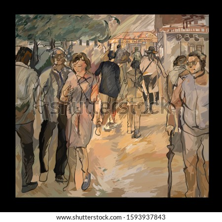 People in a street of Paris- vector illustration (Ideal for printing on fabric or paper, poster or wallpaper, house decoration)