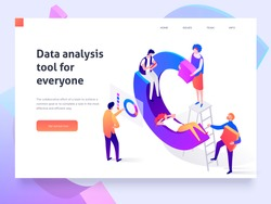 People in a team build a pie chart and interact with graphs. Data analysis, and office situations. Landing page template. 3d isometric illustration