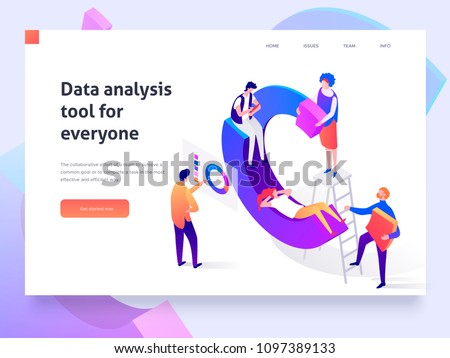 People in a team build a pie chart and interact with graphs. Data analysis, and office situations. Landing page template. 3d isometric illustration - Shutterstock ID 1097389133
