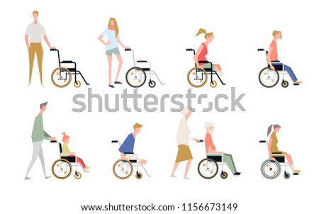 People in a wheelchair. Disabled child, handicapped children, diverse students in wheelchair vector set. Illustration of people isolated on white background. Disabled and handicapped.