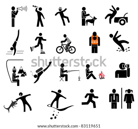 People in action - set of isolated vector icons. Black and white simple pictograms.