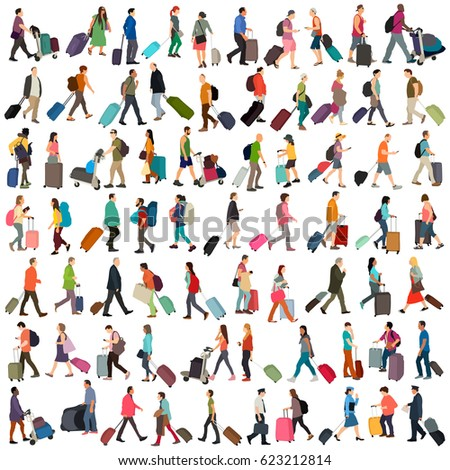 People in airport vector set