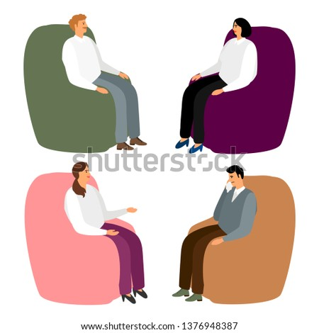 People in armchairs. Cartoon men and women sit in chairs for relaxing and talking, relaxing or psychotherapy isolated on white vector illustration