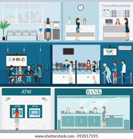 People in bank interior, Bank building exterior and interior counter desk, cashier, consulting, money currency exchange, financial services, ATM with CCTV security camera,banking vector illustration.