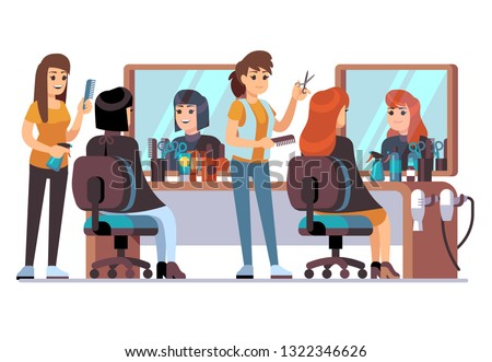 People in barber shop. Hairdresser making female fashion haircut to women clients. Inside hairdressing salon vector concept