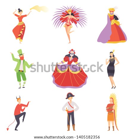 People in Bright Festival Costumes Set, Masquerade Ball, Carnival Party Design Element Vector Illustration