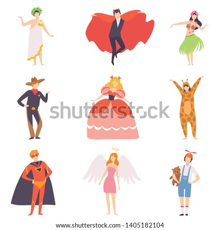 People in Bright Festival Costumes Set, Vampire, Hawaiian Girl, Cowboy, Princess, Tiger, Superhero, Angel, Masquerade Ball, Carnival Party Design Element Vector Illustration