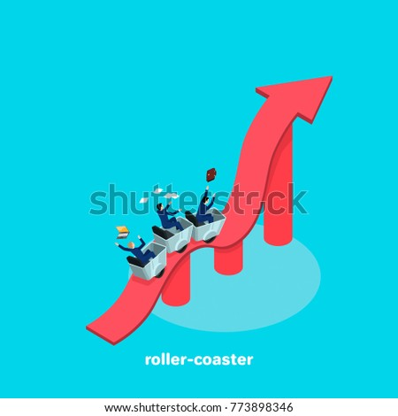 people in business suits ride along a wavy arrow as on a roller coaster, an isometric image