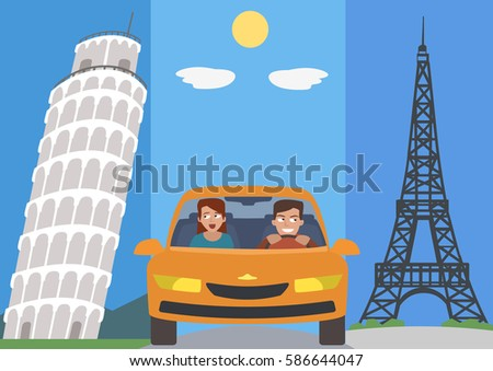 people in car against europe