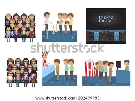people in cinema set   isolated
