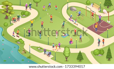 People in city park, sport activity and summer leisure games, isometric vector background. People in public park jogging, playing basketball and tennis, training at workout ground and riding scooters Stock photo ©