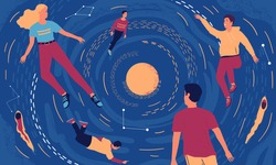 People in cosmos. Cartoon young men and women floating in universe. Relaxation and mind expansion concept. Happy people flying around sun in space. Vector fantastic galactic journey