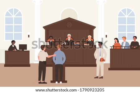 People in Court vector illustration. Cartoon flat advocate barrister and accused character standing in front of judge and jury on legal defence process or court tribunal, courtroom interior background Foto d'archivio ©
