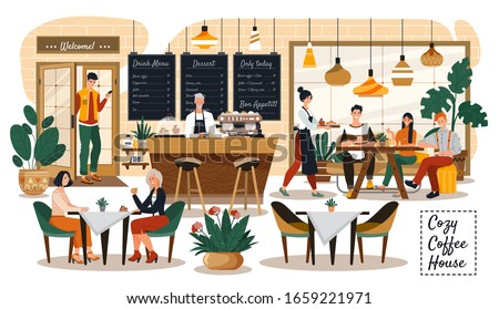 People in cozy cafe, coffee shop interior, customers and waitress, vector illustration. Stylish coffee house with cozy atmosphere. Smiling friends meeting in cafe and talking over a cup of tea
