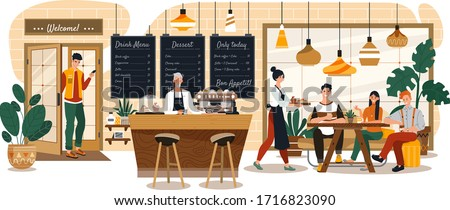 People in cozy cafe, coffee shop interior, customers and waitress, vector illustration. Stylish restaurant, comfortable bakehouse, dessert menu. Smiling friends meeting and talking over a cup of tea