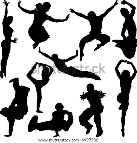 People in different poses silhouetted black against a white background