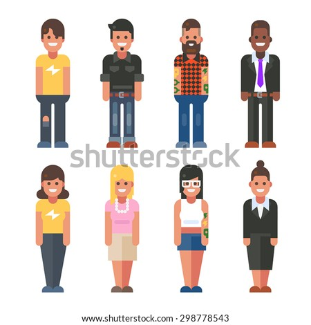 People in different styles. Sample, casual, hipster, business. Vector flat illustration.