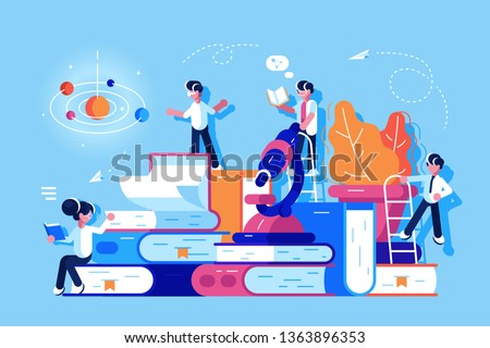 People in educational process vector illustration. Boys and girls standing near pile of books and microscope. Students reading studying and searching information flat style concept