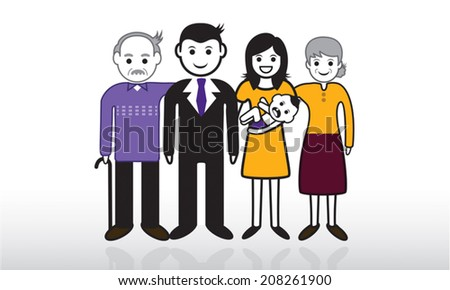 People in family pictograph vector