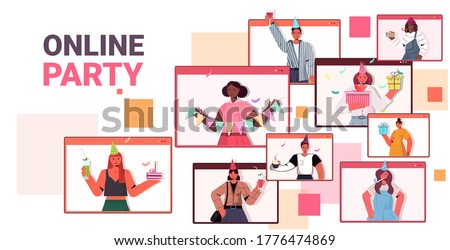 people in festive hats celebrating online birthday party mix race men women in computer windows having fun celebration self isolation virtual meeting concept portrait horizontal vector illustration