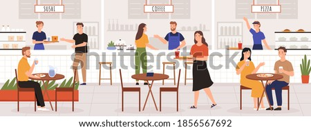 People in food court. Adult men and women eat lunch in cafe or restaurant interior with table. Sushi, coffee and pizza place vector concept. Illustration sushi and pizza, in food court place
