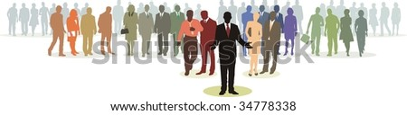 People in four line silhouette, color isolated vector