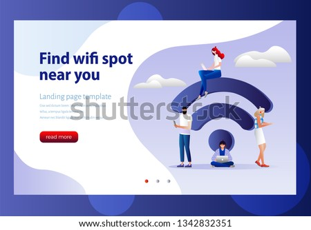 People in free internet zone, big wifi sign. Free wifi hotspot, wifi bar, public assess zone, portable device concept. Vector illustration. Can use for landing page template, web, mobile app, poster