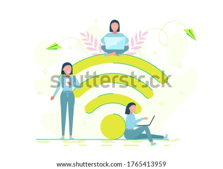 People in free internet zone working on laptops sitting on a big wifi sign. Free wifi hotspot, wifi bar, portable device concept. Vector illustration. Character design.