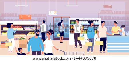 People in grocery store. Customers buying food in supermarket. Shopping customers choosing products. Consumerism vector concept. Interior of supermarket, buying food and drink illustration