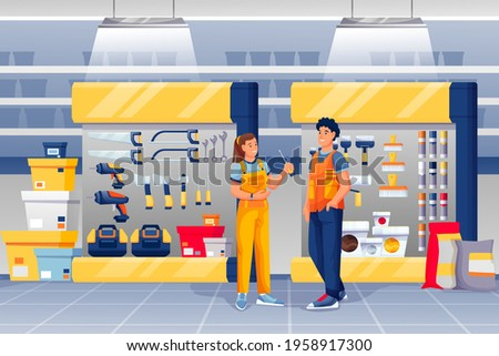 People in hardware shop. Woman assistant standing and talking to man vector illustration. Tools and materials store interior design panorama with drills, toolkits, hammers, screwdrivers. Foto stock ©