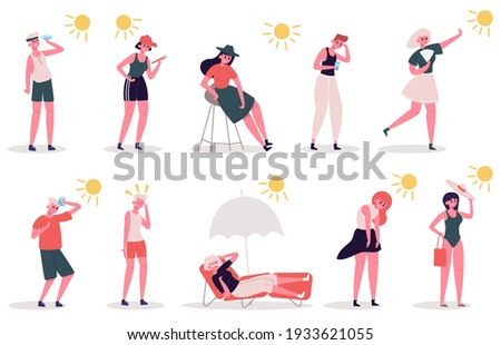 People in hot weather. Male and female characters suffer from heat, summer extreme hot weather. Seasonal summertime heat vector illustration set. Sunbathing under umbrella, looking at thermometer