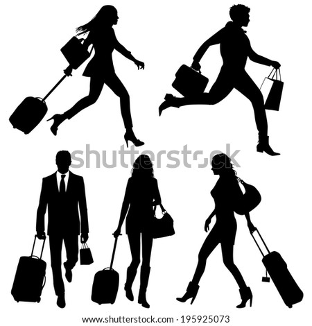 People in hurry, on airport - vector silhouettes.
