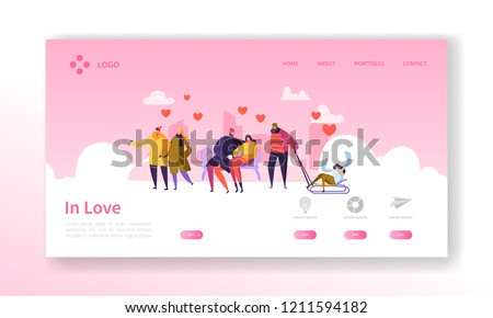 People in Love on Winter Season Landing Page. Valentines Day Banner with Flat Characters and Hearts. Website Template Easy Edit and Customize. Vector illustration